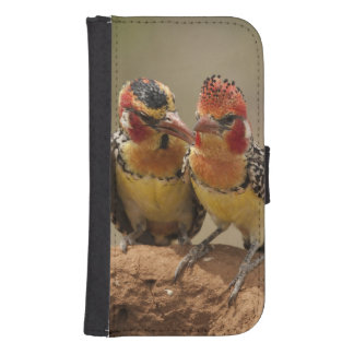 Red and Yellow Barbet eating termites Samsung S4 Wallet Case