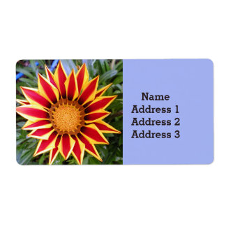 Red and Yellow Flower Photo Address Label