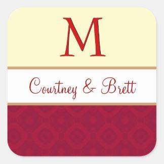 Red and Yellow Wedding Monogram V10 Sticker