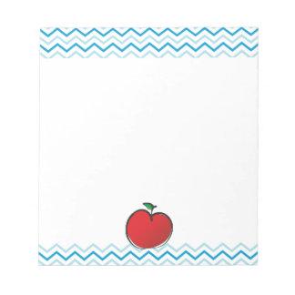 Red apple Chevron Pattern Personalized Monogram Notepad
