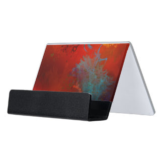 Red, Aqua & Gold Grunge Digital Abstract Art Desk Business Card Holder