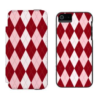 Red Argyle Crimson Pink Small Diamond Shape Incipio Watson™ iPhone 5 Wallet Case