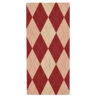 Red Argyle Crimson Pink Small Diamond Shape Wood USB 3.0 Flash Drive