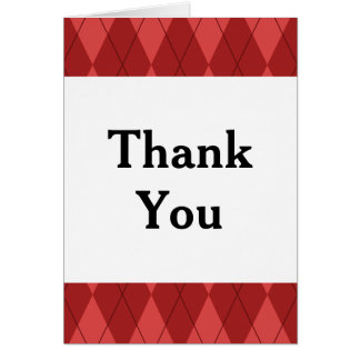 Red Argyle Thank You Card