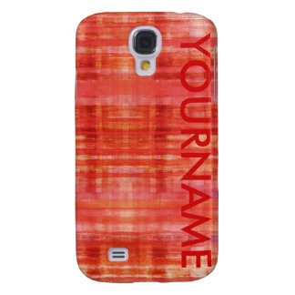 Red Art Stripes Pattern Your Name Galaxy S4 Case