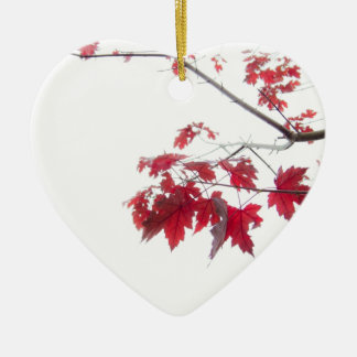 red autumn leaves on a branch christmas ornament