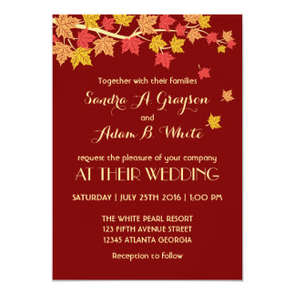 Red Autumn Maple Leaves Fall Wedding Invitation