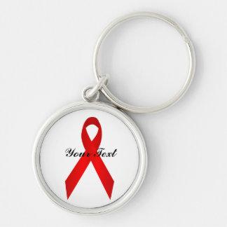 Red Awareness Ribbon Premium Keychain