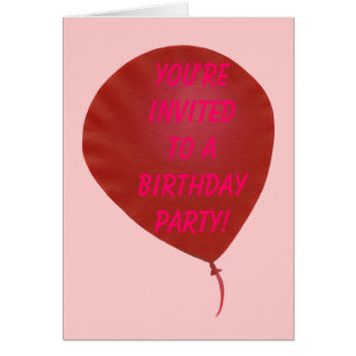 Red Balloon Birthday Party Invitation Cards