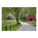 Red barn and farm house near Berlin, Ohio. Poster