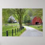 Red barn and farm house near Berlin, Ohio. Print
