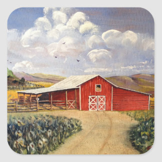 Red Barn West Virginia Farm Fine Art Painting Sticker