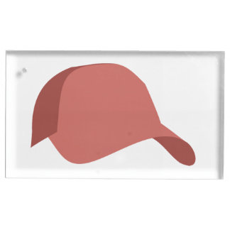Red baseball cap place card holder