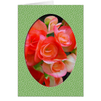 red begonia flowers card