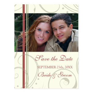 Red Beige Photo Save the Date Wedding Postcards