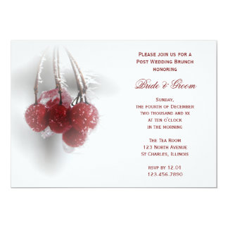 Red Berries Winter Post Wedding Brunch Invitation