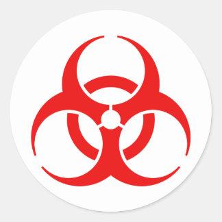 Red Biohazard Classic Round Sticker