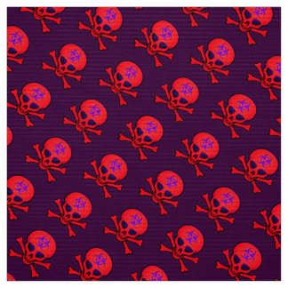 Red Biohazard Skull and Crossbones Fabric