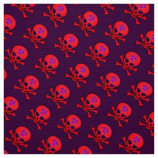 Red Biohazard Skull and Crossbones Fabric