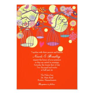Red Bird Cage Love Birds Wedding Invitation