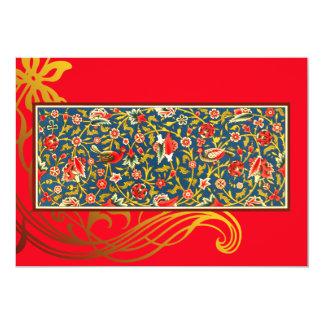 Red Bird Flourish Indian Wedding Invitation