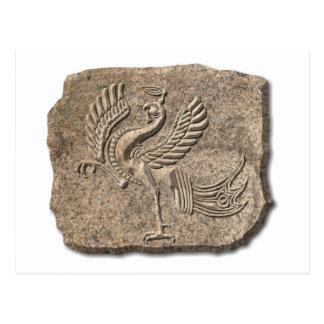Red bird stone post card