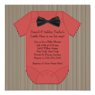 Red Black and Brown Pinstripe Baby Boy Shower 13 Cm X 13 Cm Square Invitation Card