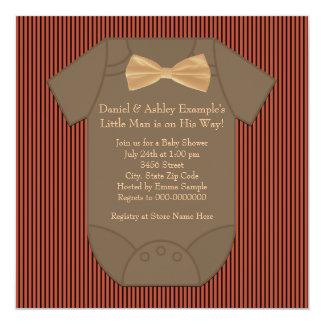 Red Black and Brown Pinstripe Baby Shower Invite