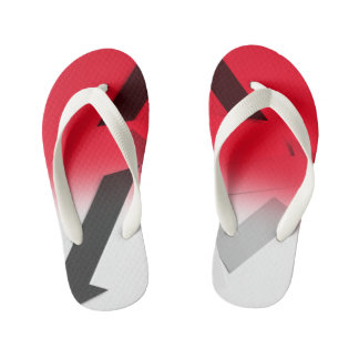 RED, BLACK AND WHITE ABSTRACT FLIP FLOP THONGS