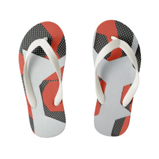 RED BLACK AND WHITE ABSTRACT FLIP FLOPS