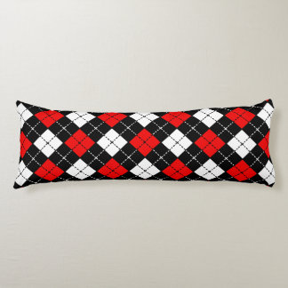 Red Black and White Argyle Pattern Body Cushion