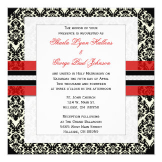 Red Black and White Damask Wedding Invitation