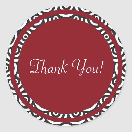 Red Black and White Retro Thank You Sticker