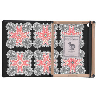 Red Black and White Vintage Style Floral Damask Cases For iPad