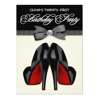 Red Black Bow Tie Womans 21st Birthday Party Card