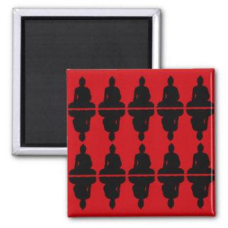 Red & Black Buddha Square Magnet
