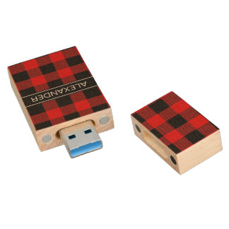Red Black Buffalo Check Plaid Name Monogram Wood USB Flash Drive