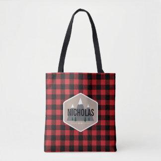 Red & Black Buffalo Plaid Pattern Tote Bag