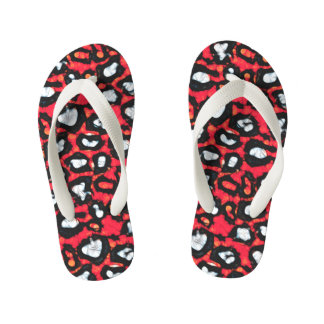 Red Black Cheetah Abstract Thongs