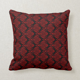 Red & Black Damask Look Cushion