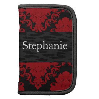 Red Black Damask Personalized Folio Mini Planner