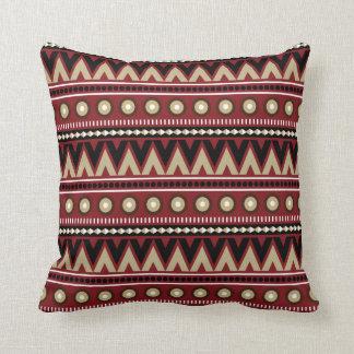 Red Black Gold Aztec Modern Stylish Throw Pillow