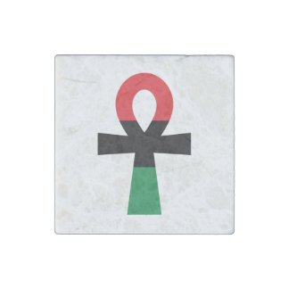 Red, Black & Green Ankh Stone Magnet