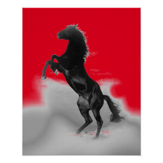 Red Black Grey Rearing Horse Pop Art Poster