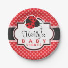 Red & Black Ladybug; Cute Baby Shower Paper Plate