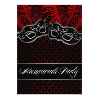 Red Black Mask Masquerade Ball Party Invitations