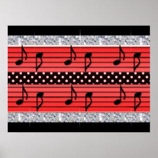 Red Black Polka Dot Diamonds Musical Notes Poster