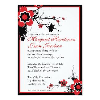 Red & Black Sakura Cherry Blossoms Wedding Invite