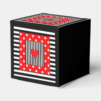 Red black stripes, polka dots pattern favor box party favour box