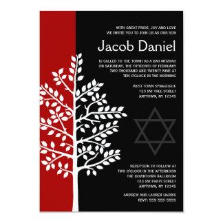 Red Black Tree of Life Bar Mitzvah Invitations
